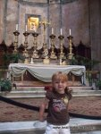 Lily at the Pantheon alter