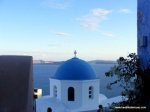 One of the famous blue domes of Santorini - most are in Oia